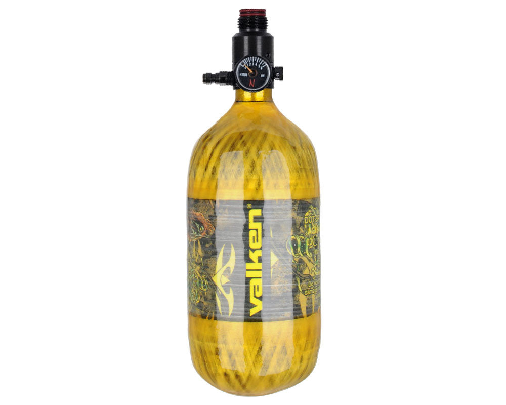 Valken 45/4500 Compressed Air Paintball Tank w/ Ninja Ultralite Regulator - Yellow