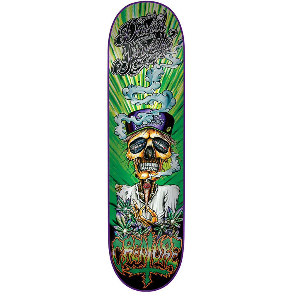 Creature Gravette Hippie Skull III - Green- 8.26in x 31.7in - Skateboard Deck