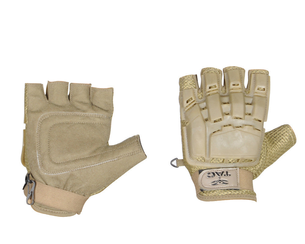 Valken V-Tac Half Finger Plastic Back Paintball Gloves - Tan