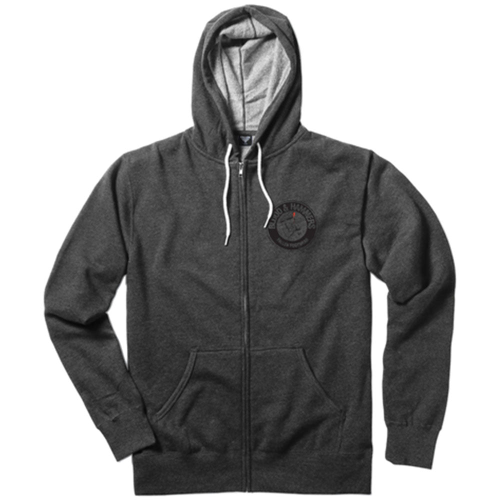 Fallen Blood & Hammer Zip-Up Hooded - Heather Charcoal/Black - Men's Sweatshirt