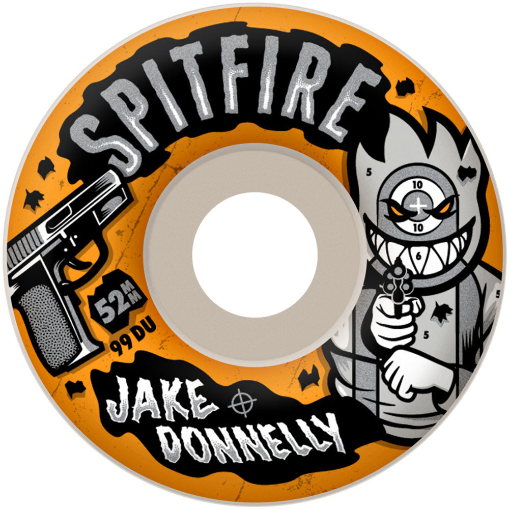 Spitfire Jake Donnelly Sure Shot - White - 52mm 99a - Skateboard Wheels (Set of 4)