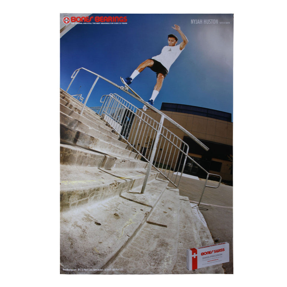Bones Bearings Nyjah Houston Switch Smith - 36in x 24in - Skate Poster