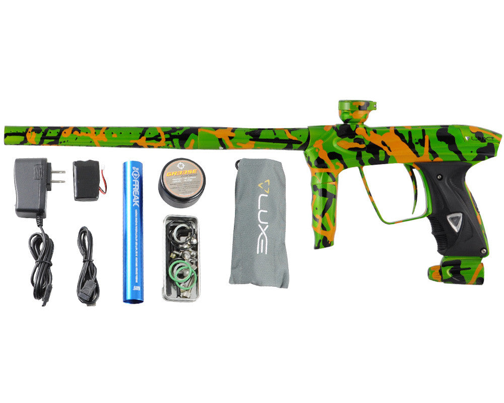 DLX Luxe 2.0 Paintball Gun - Pearl Lime/Black/Orange Splash