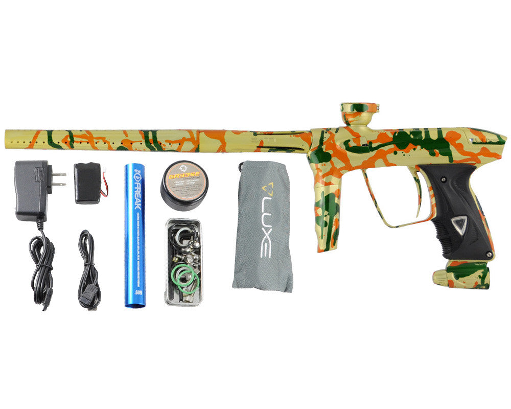 DLX Luxe 2.0 Paintball Gun - Pearl Yellow/Green/Orange Splash