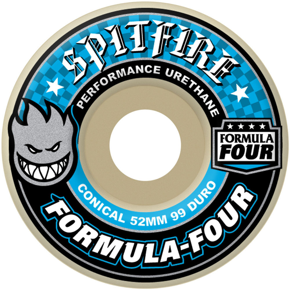 Spitfire Formula Four Conical - White - 54mm 99a - Skateboard Wheels (Set of 4)