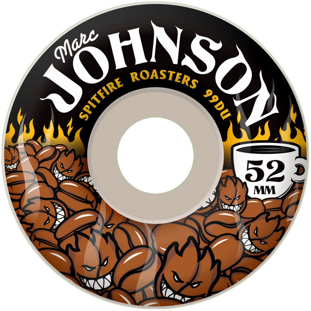 Spitfire Johnson Dark Roasters - White - 53mm 99a - Skateboard Wheels (Set of 4)