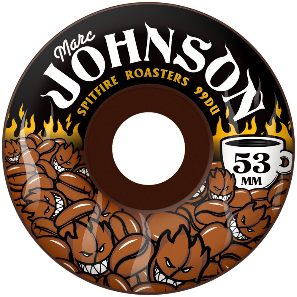 Spitfire Johnson Dark Roasters - Brown - 53mm 99a - Skateboard Wheels (Set of 4)