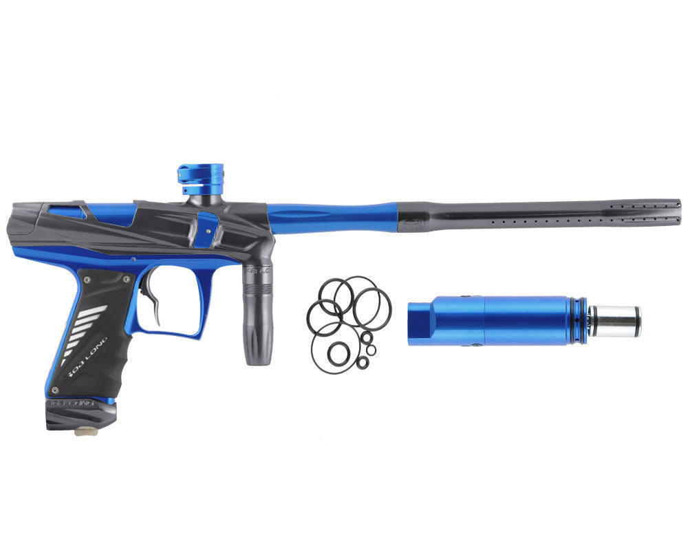 Bob Long Victory V-COM Paintball Gun - Titanium/Blue