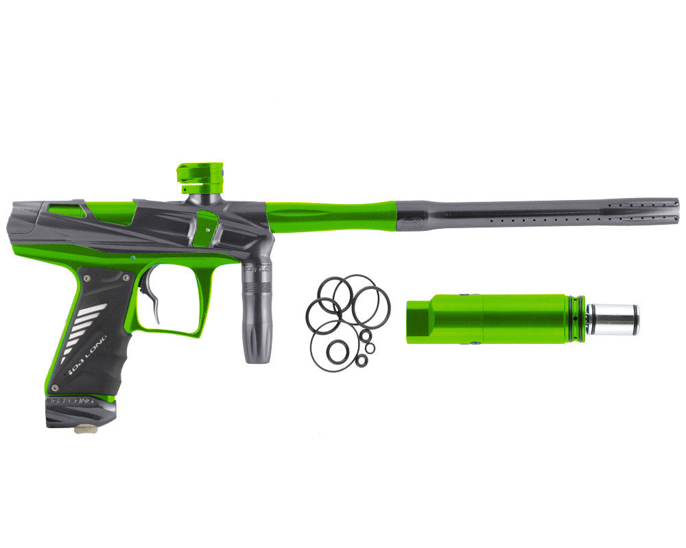 Bob Long Victory V-COM Paintball Gun - Titanium/Lime