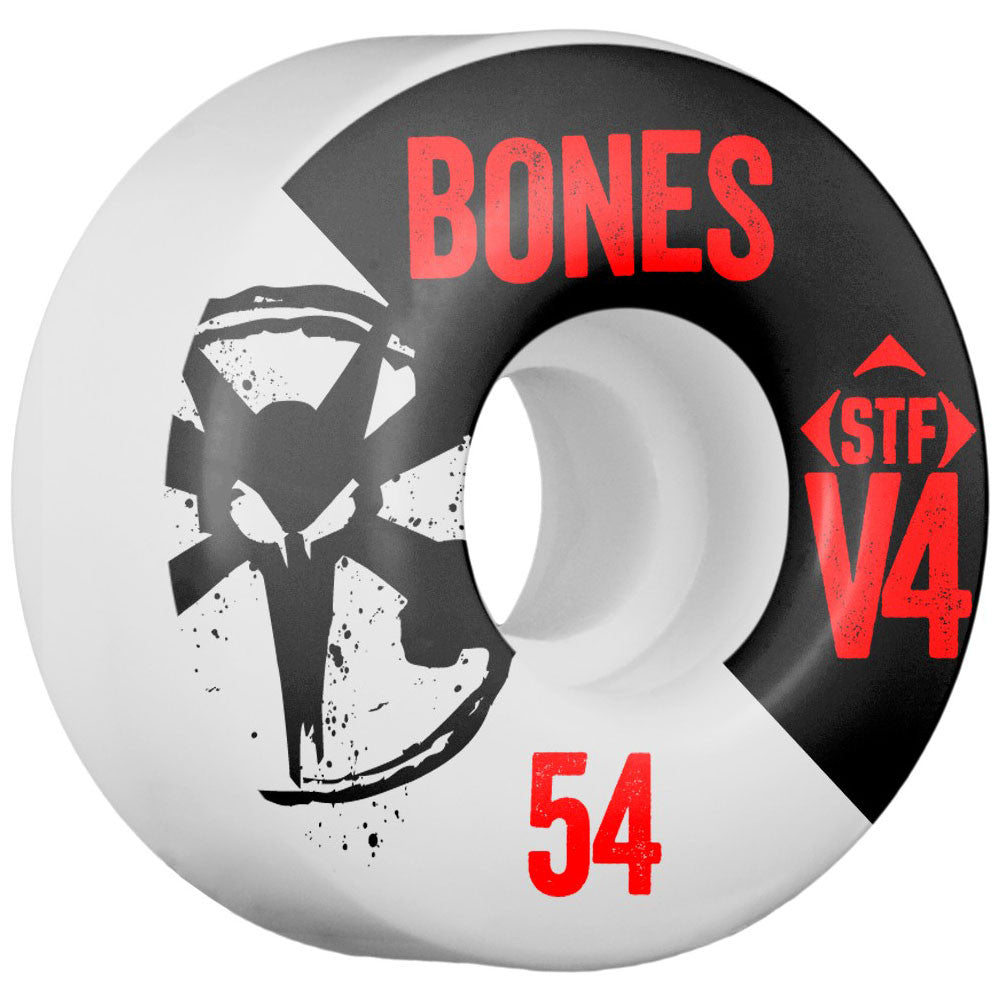 Bones STF V4 Series - White - 54mm 83b - Skateboard Wheels (Set of 4)