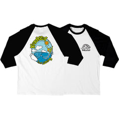 Krooked Wave Attack 3/4 Sleeve - White/Black - Men's T-Shirt