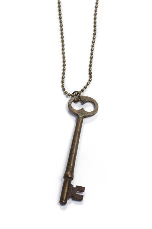 Love Nail Tree Simple Skeleton Key Necklace - Brass - Jewelry
