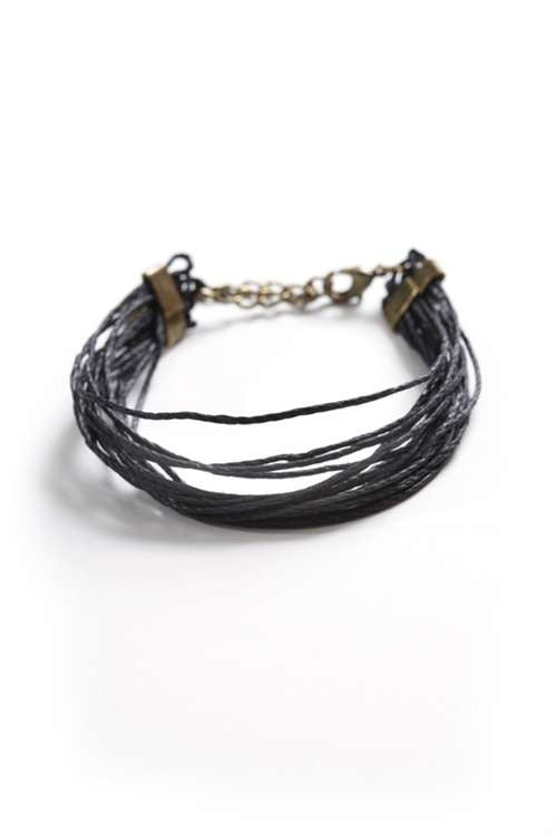 Love Nail Tree Rings of Hemp Bracelet - Black - Jewelry