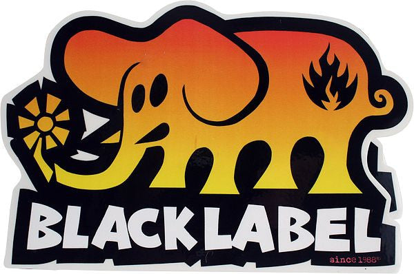 Black Label Elephant - Orange/Yellow/Black - 4in - Sticker
