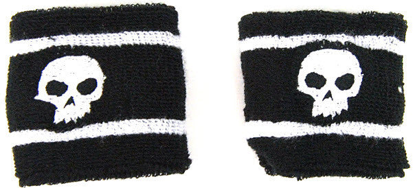 Zero Sweat Bands Black/White Skull - Black - Skateboard Accessory
