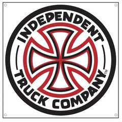 Independent Cross Vinyl Banner - Red/White - 45in x 45in - Skate Banner