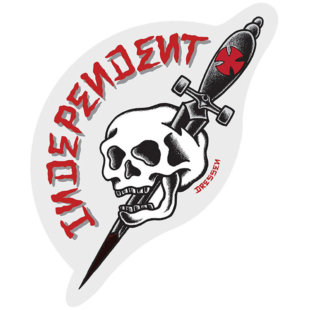Independent Dressen Dagger - White/Red/Black - 3.5in x 4.375in - Sticker