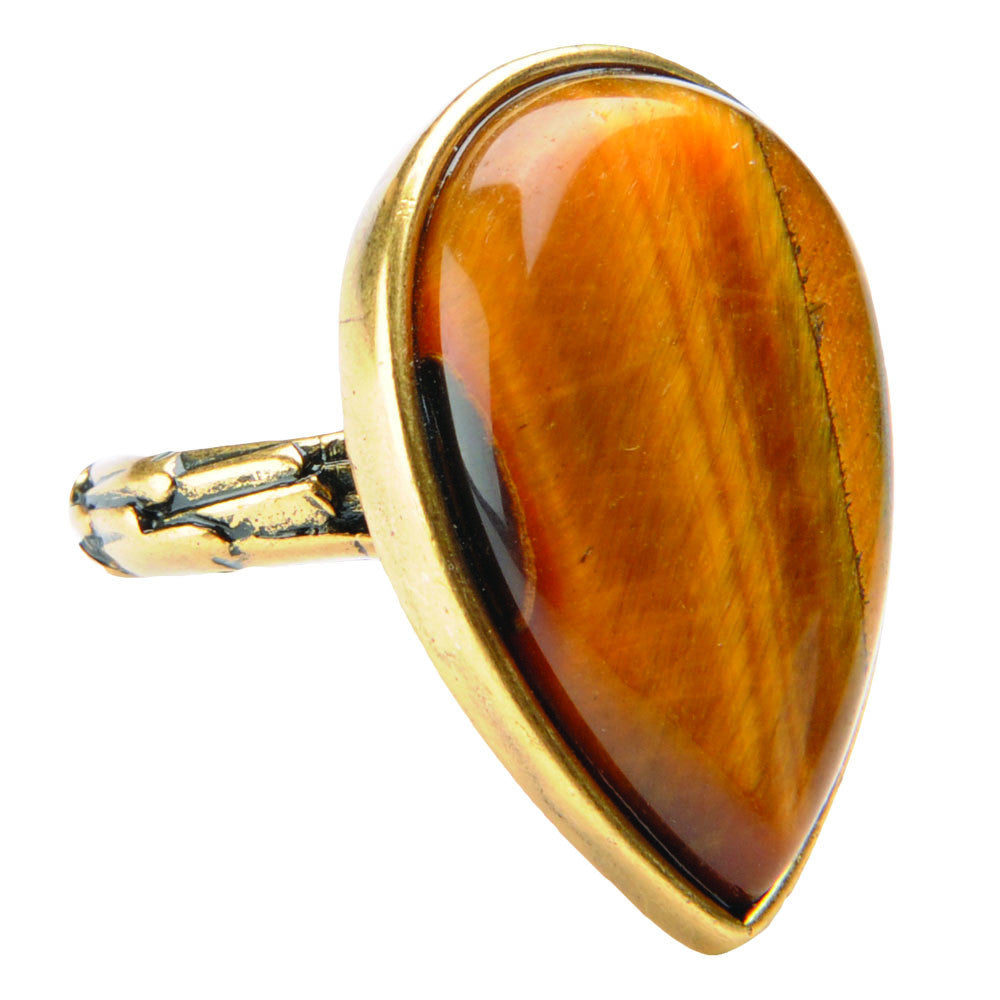 Lucky Tiger Eye Ring - Gold - Jewelry