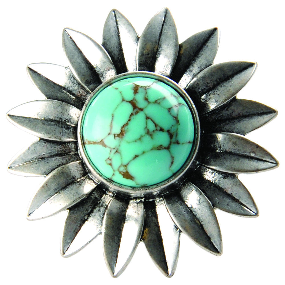 Lucky Turquoise Flower Ring - Blue - Jewelry
