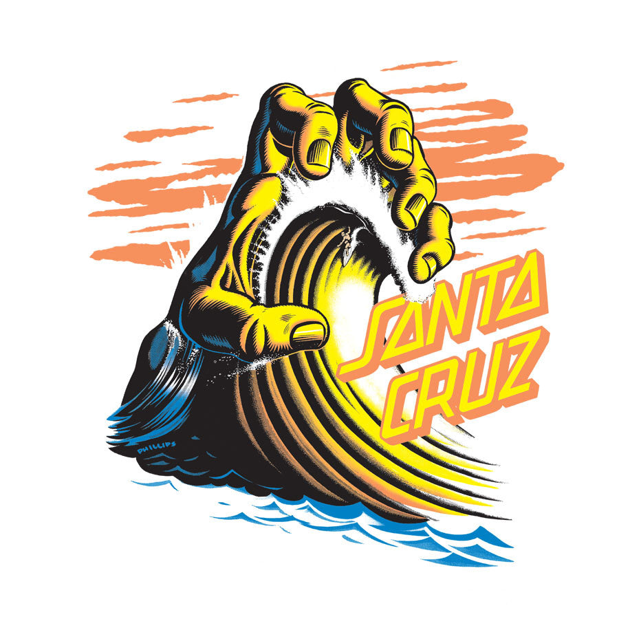 Santa Cruz Wave Hand Decal - Yellow - 6in - Sticker