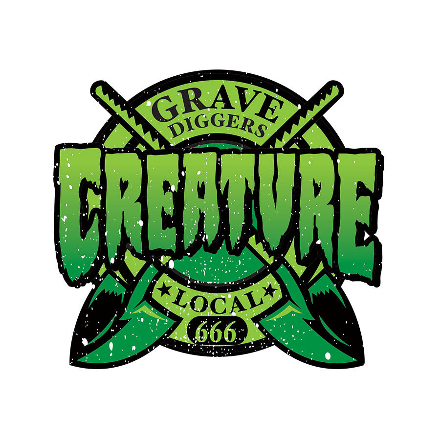 Creature Grave Diggers Clear Mylar Decal - Green - 3in x 3in - Sticker