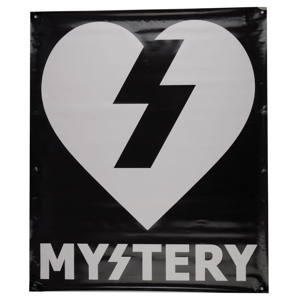 Mystery Text - Black/White - 28 1/2in x 34in - Skate Banner