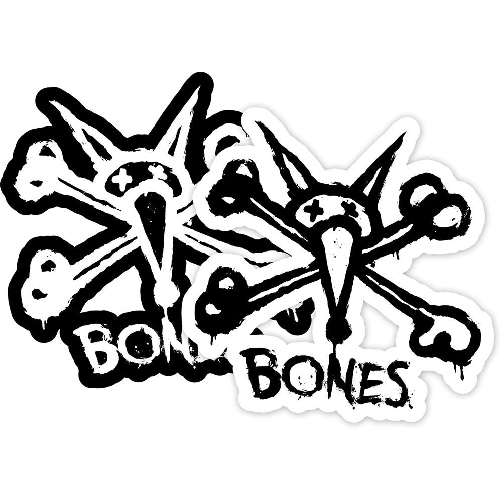 "Bones Vato Stacked 4"" - Black/White - Sticker"