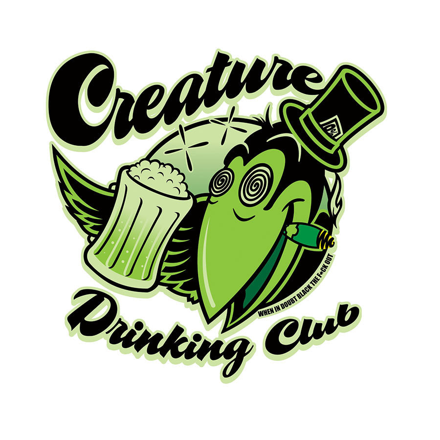 Creature Drinking Club Decal Clear Mylar - Black/Green - 3.5in x 3.5in - Sticker