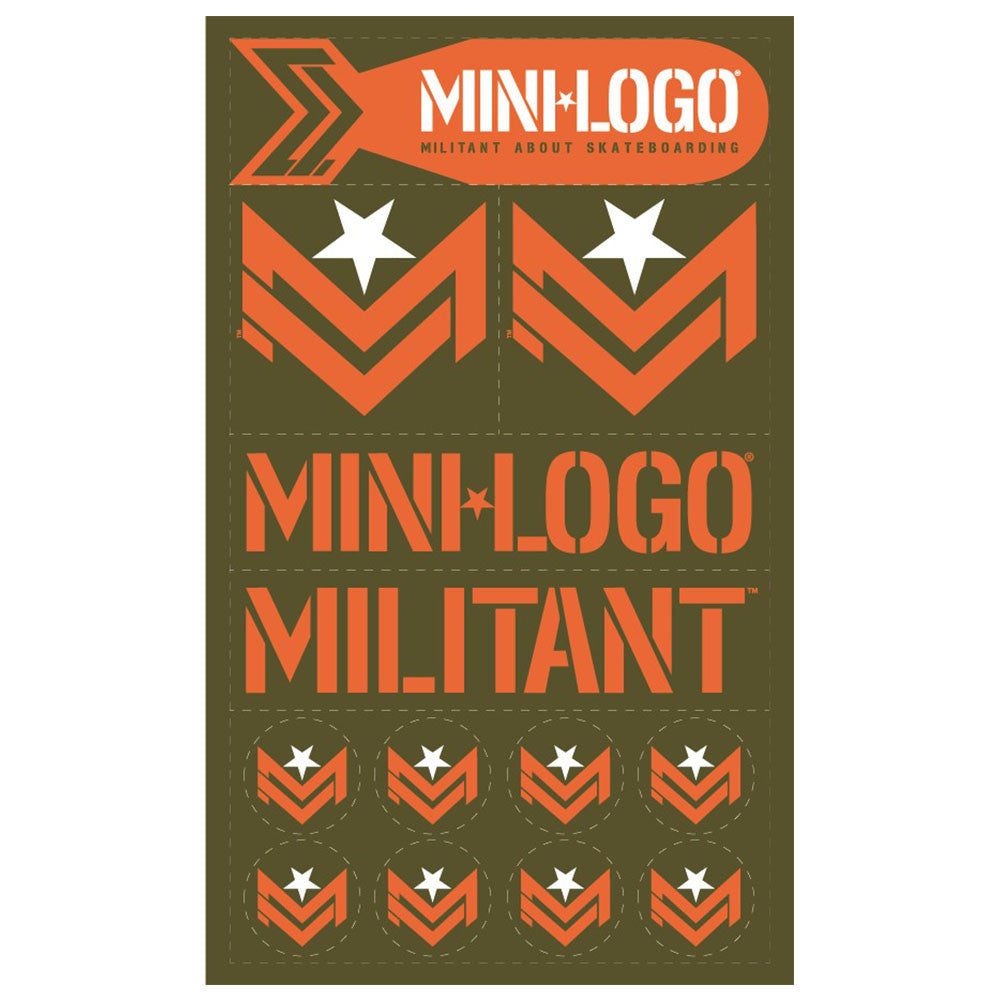 Mini Logo 2 - Olive/Orange - Sticker Sheet