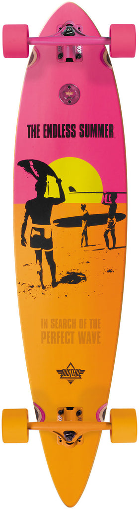 Dusters Endless Summer Longboard - Yellow/Orange/Pink - 42in - Complete Skateboard