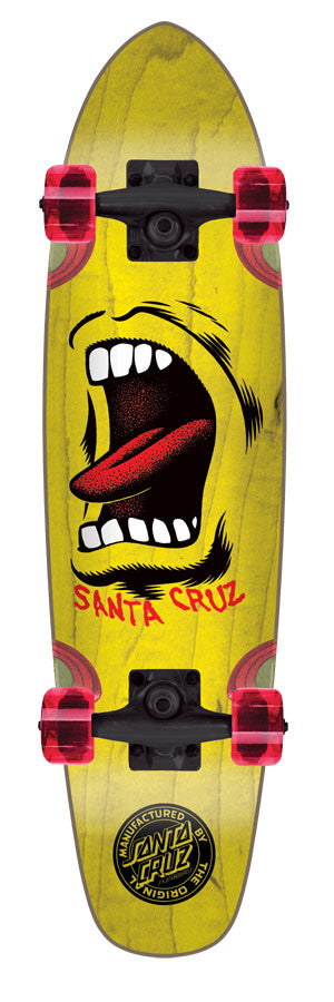 Santa Cruz Sidewalk Screamer Cruzer - Yellow - 6.5in x 25.5in - Complete Skateboard