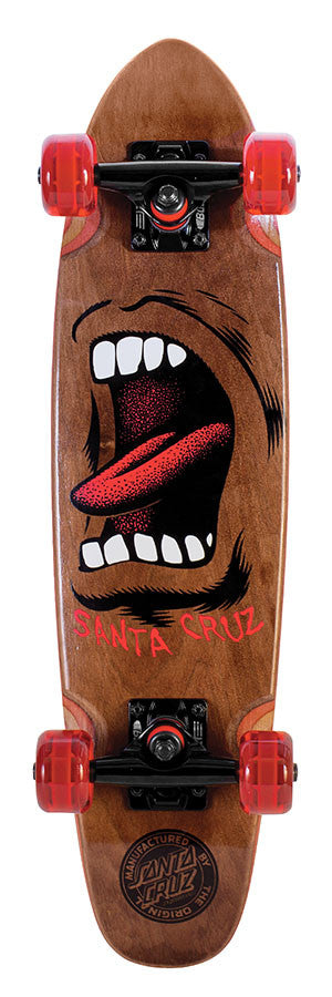 Santa Cruz Sidewalk Screamer Cruzer - Brown - 6.4in x 25.3in - Complete Skateboard
