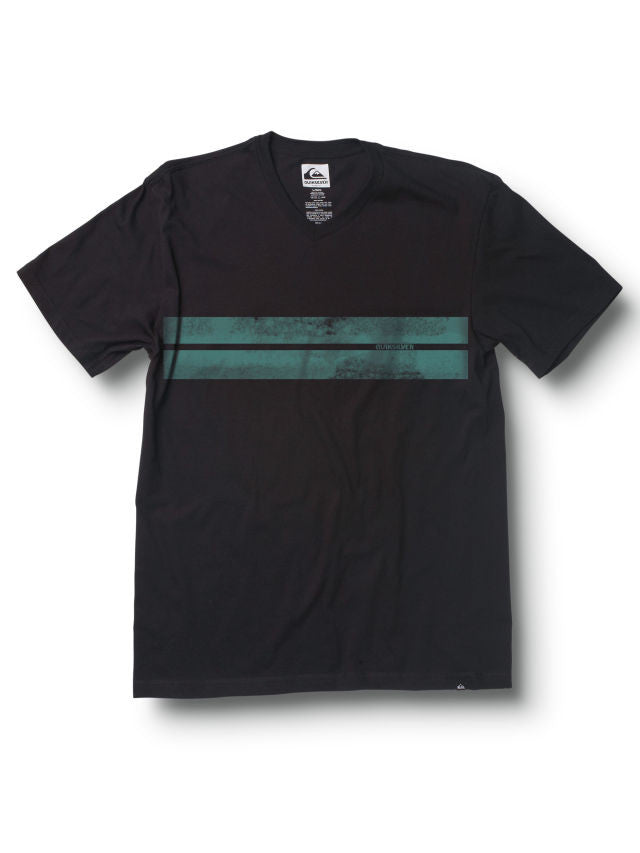 Quiksilver Flatline Slim Fit V-Neck T-Shirt - Dark Charcoal - Mens T-Shirt