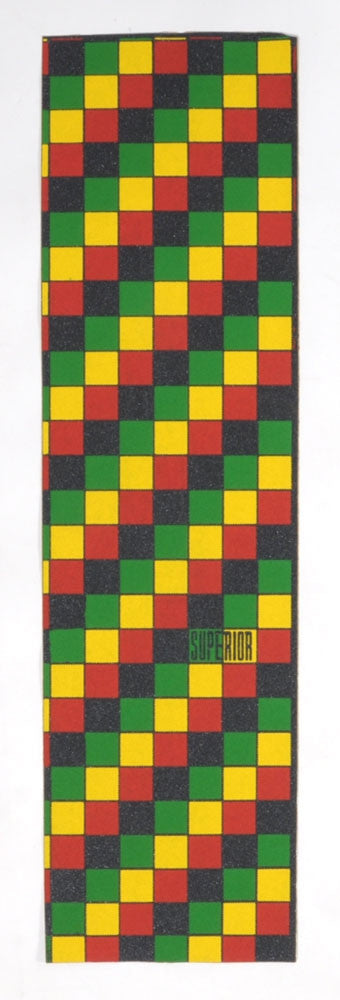 Superior Rasta Check - Skateboard Griptape - Rasta (1 Sheet)