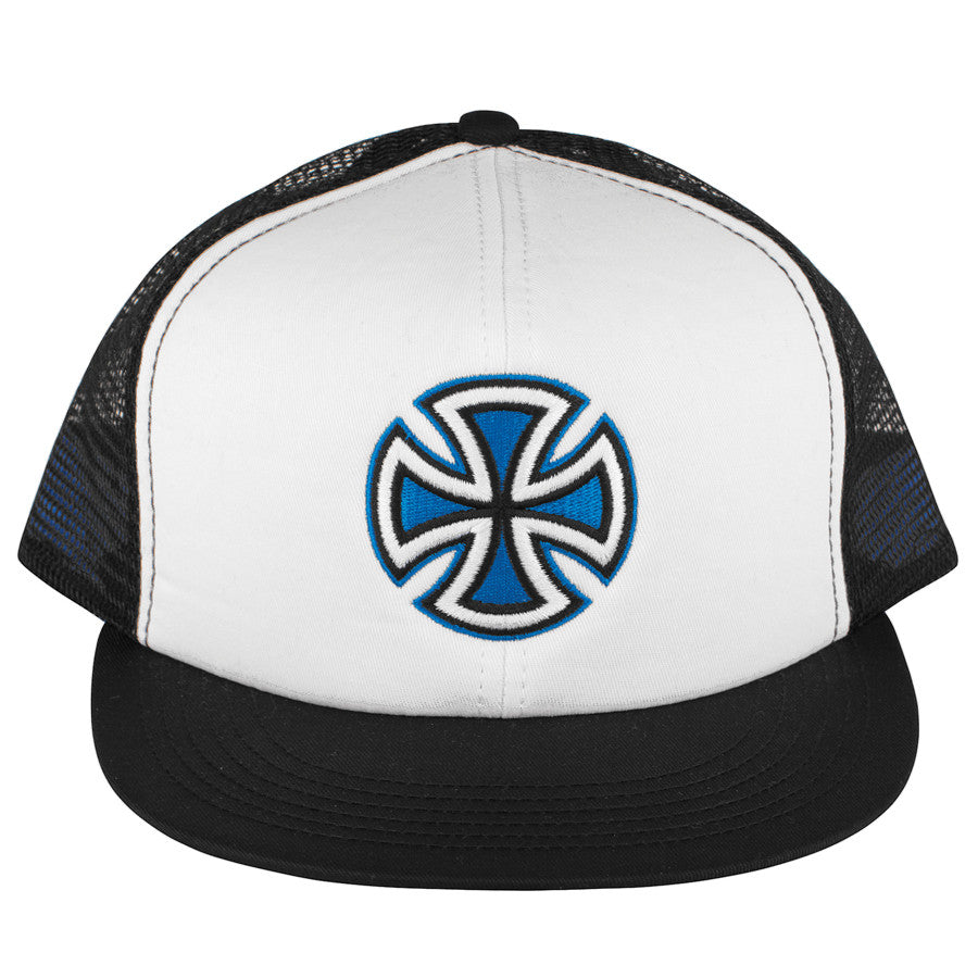 Independent Painted Cross Trucker Mesh Hat - White/Blue/Black
