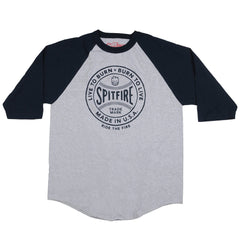 Spitfire Fastball 3/4 Sleeve - Athletic Heather/Navy - Men's T-Shirt