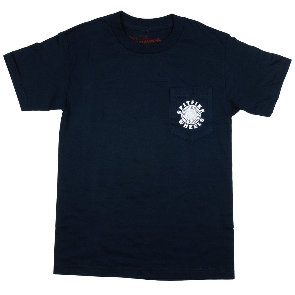 Spitfire Classic Pocket S/S - Navy/White - Men's T-Shirt