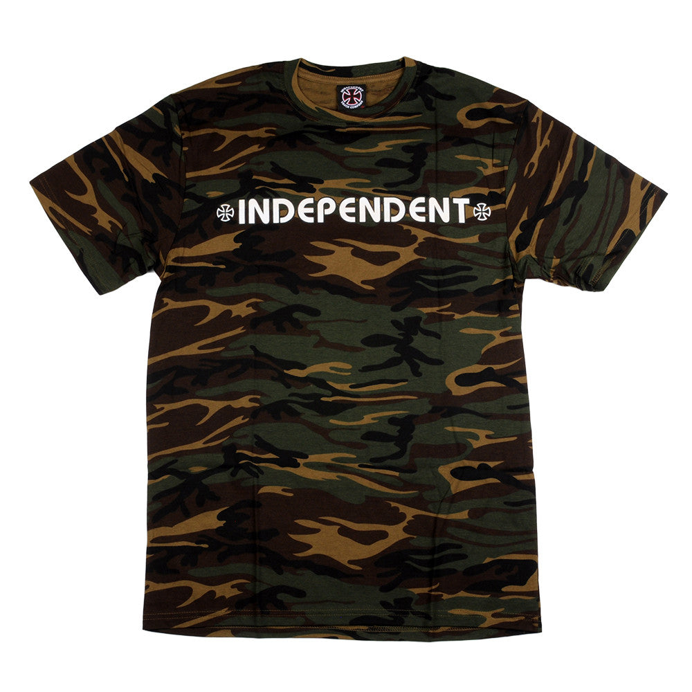 Independent Bar/Cross Regular S/S - Camouflage Green - Mens T-Shirt