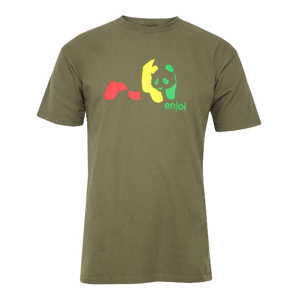 Enjoi Rasta Panda S/S - Military Green - Men's T-Shirt