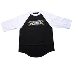 Anti-Hero Eagle 3/4 Sleeve - Black/White - Men's T-Shirt