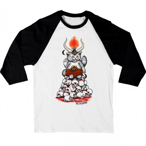 Real Kitten Lord 3/4 Sleeve Raglan - White/Black - Men's T-Shirt