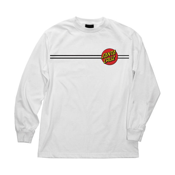 Santa Cruz Classic Dot Regular L/S - White - Men's T-Shirt