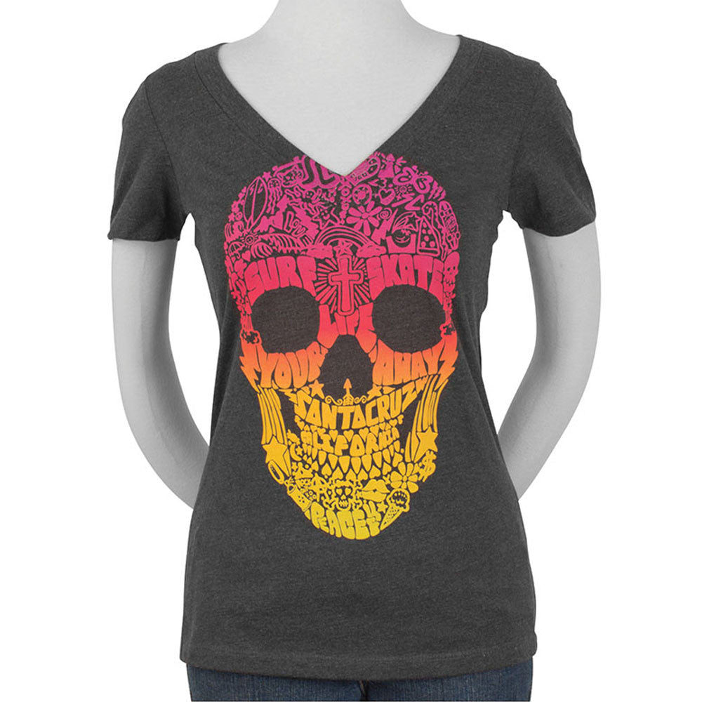 Santa Cruz Doodle Skull Fitted V-Neck S/S - Charcoal - Women's T-Shirt