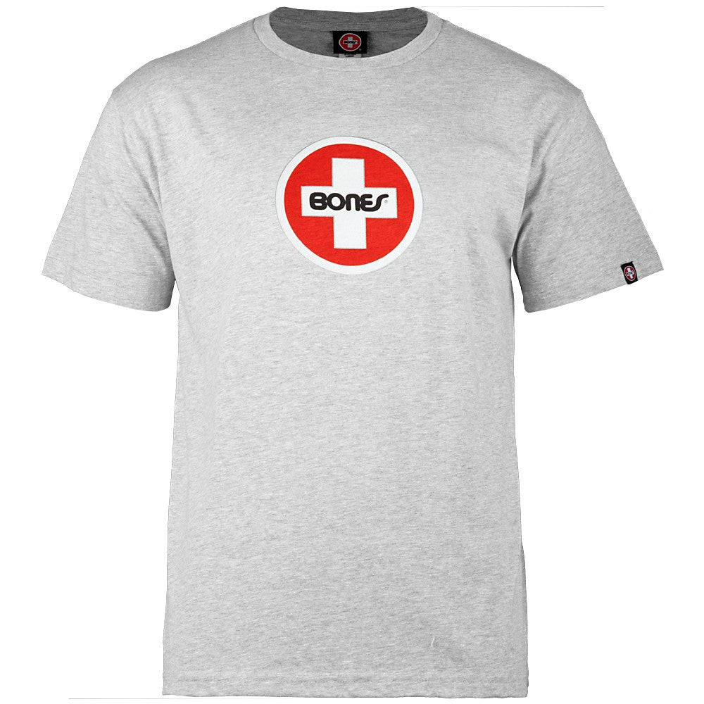 Bones Bearings Swiss Circle S/S - Heather Grey - Men's T-Shirt