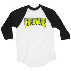 Creature Logo Raglan 3/4 Sleeve - White/Black - Men's T-Shirt