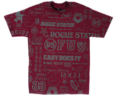 Rogue Status Cluster F*ck S/S - Burgundy/Grey - Men's T-Shirt