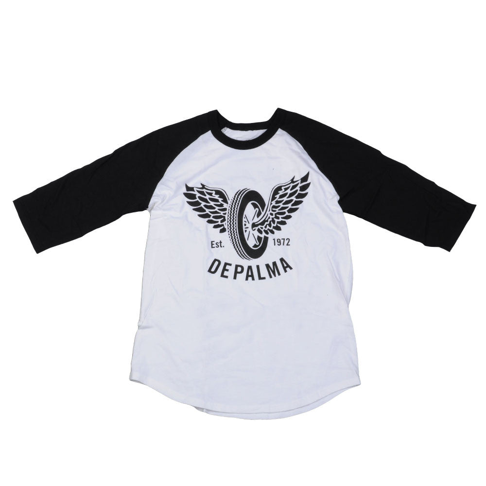 DePalma Flying Wheel Raglan - White/Black - Mens T-Shirt