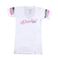 FMF Daredevil V-neck Tee - White - Mens T-Shirt