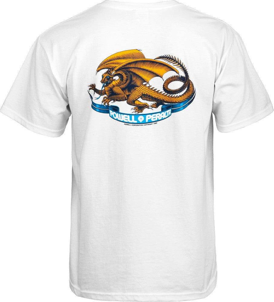 Powell Peralta Oval Dragon Short Sleeve - White - Men's T-Shirt
