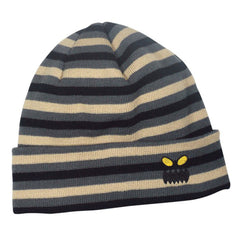 Toy Machine Monster Face Stripe Beanie - Grey/Tan - Men's Beanie